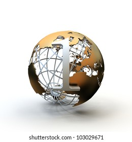 Globe glossy metallic no.1 prize isolated on white