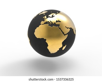 Globe with gold continents and black ocean focus on Europe,Africa,the Indian Ocean,the Atlantic Ocean isolated on white background .World, map, planet, earth concept. 3D illustration