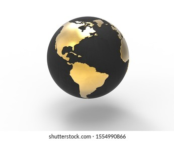 Globe with gold continents and black ocean focus on North America, South America, the Atlantic Ocean, the Pacific Ocean isolated on white background .World, map, planet, earth concept. 3D illustration