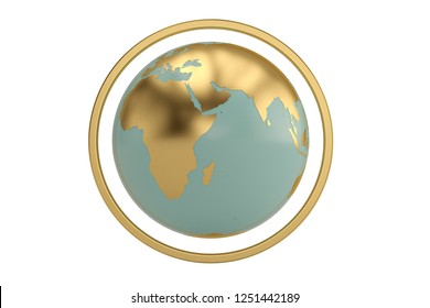 Globe with golden circle  isolated on white background. 3D illustration.