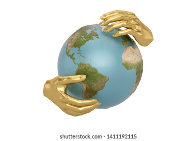 Globe in hands isolated on white background. 3D illustration.