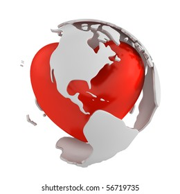 Globe with heart, America part