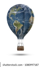 globe hot air balloon isolate on white background,3D rendering.Elements of this image furnished by NASA