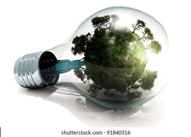 The globe is inside the light bulb.