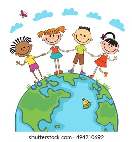 Globe kids on globe. International friendship day. Earth day.  illustration of diverse Children Holding Hands.