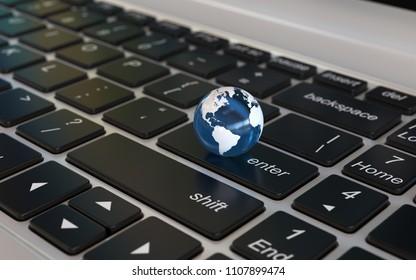 Globe on laptop keyboard, world news, globalisation concept, 3d rendering