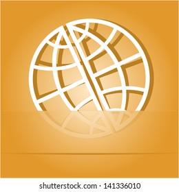 Globe. Paper sticker as bookmark. Raster illustration.