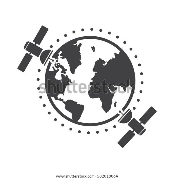 globe and satellites icon.