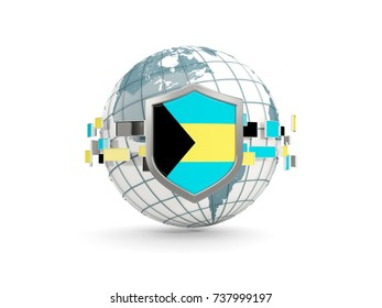 Globe and shield with flag of bahamas isolated on white. 3D illustration