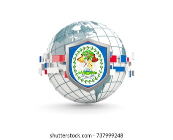 Globe and shield with flag of belize isolated on white. 3D illustration
