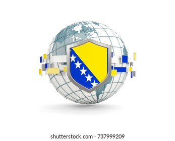 Globe and shield with flag of bosnia and herzegovina isolated on white. 3D illustration