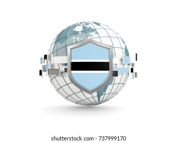 Globe and shield with flag of botswana isolated on white. 3D illustration