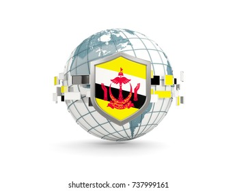 Globe and shield with flag of brunei isolated on white. 3D illustration