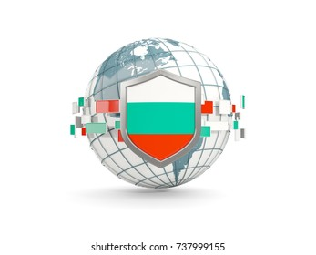 Globe and shield with flag of bulgaria isolated on white. 3D illustration