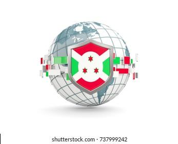 Globe and shield with flag of burundi isolated on white. 3D illustration