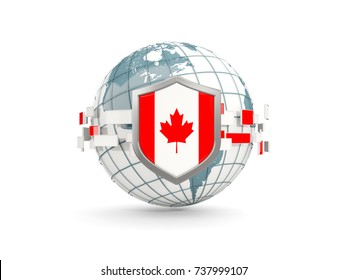 Globe and shield with flag of canada isolated on white. 3D illustration