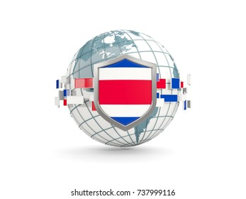 Globe and shield with flag of costa rica isolated on white. 3D illustration