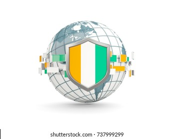 Globe and shield with flag of cote d Ivoire isolated on white. 3D illustration
