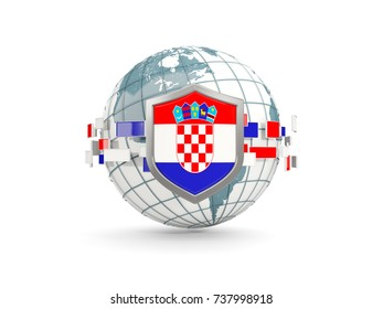 Globe and shield with flag of croatia isolated on white. 3D illustration