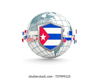 Globe and shield with flag of cuba isolated on white. 3D illustration