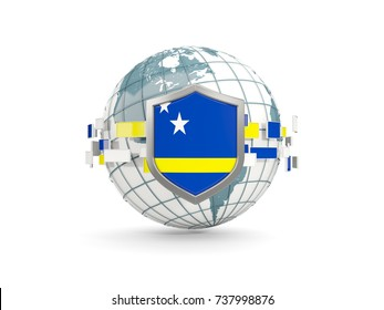 Globe and shield with flag of curacao isolated on white. 3D illustration