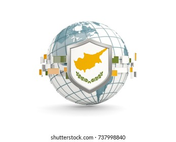 Globe and shield with flag of cyprus isolated on white. 3D illustration