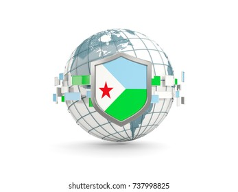 Globe and shield with flag of djibouti isolated on white. 3D illustration