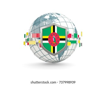 Globe and shield with flag of dominica isolated on white. 3D illustration