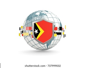 Globe and shield with flag of east timor isolated on white. 3D illustration