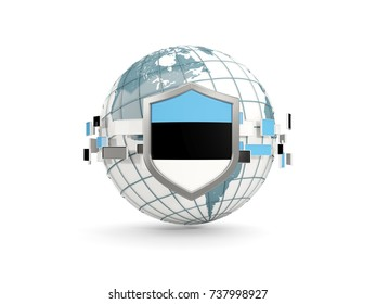 Globe and shield with flag of estonia isolated on white. 3D illustration