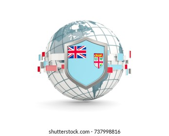 Globe and shield with flag of fiji isolated on white. 3D illustration