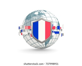 Globe and shield with flag of france isolated on white. 3D illustration