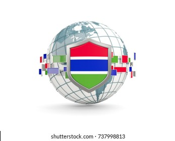 Globe and shield with flag of gambia isolated on white. 3D illustration
