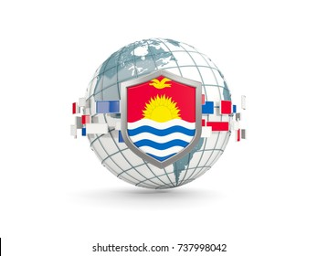 Globe and shield with flag of kiribati isolated on white. 3D illustration