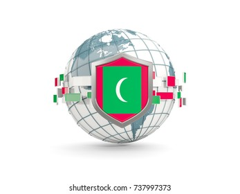 Globe and shield with flag of maldives isolated on white. 3D illustration