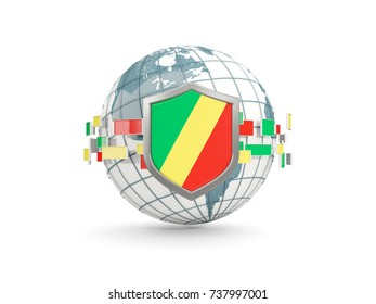 Globe and shield with flag of republic of the congo isolated on white. 3D illustration