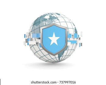 Globe and shield with flag of somalia isolated on white. 3D illustration
