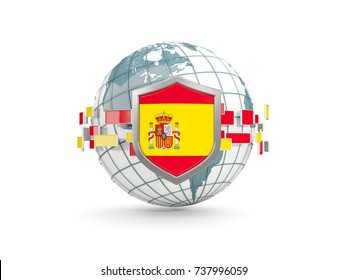 Globe and shield with flag of spain isolated on white. 3D illustration