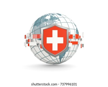 Globe and shield with flag of switzerland isolated on white. 3D illustration