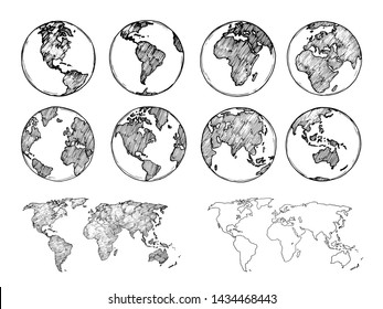 Globe sketch. Hand drawn earth planet with continents and oceans. Doodle world map illustration. Planet and world sketch map with ocean and land