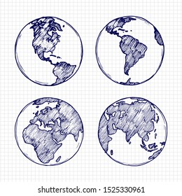 Globe sketch. Hand drawn earth planet with continents illustration