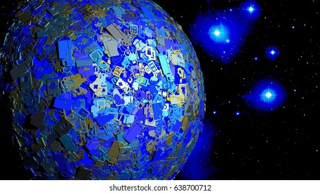 Globe in space covert with shiny IOT icons and symbols internet of things concept 3D illustration