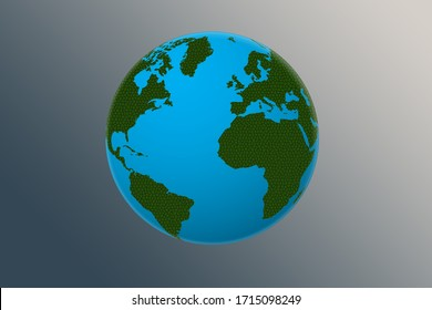 glode textured green and blue, earth day illustration