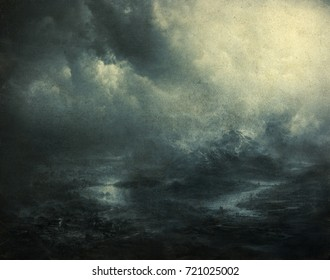 Gloomy landscape with distant foggy mountains and dramatic cloudy sky