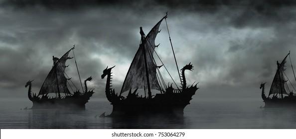 Gloomy landscape with fantasy boats on the misty lake. 3D illustration.