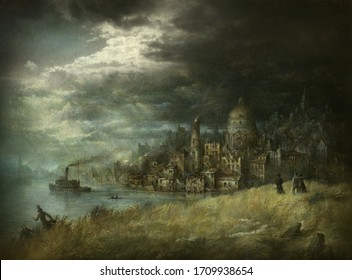 Gloomy landscape with an old ruined city against the ominous stormy sky, acrylic on paper and editing.
