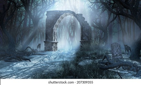 Gloomy scenery with ancient ruins, forest and wolves