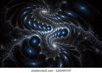 Glossy asymmetric spiral design. Abstract fantasy swirly ornament. Fractal waves, digital artwork for creative graphic. Digital art. 3D rendering.