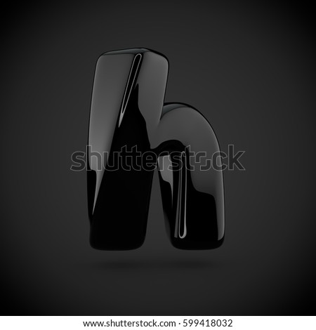 glossy black paint letter h lowercase on dark background 3d render of bubble twisted font