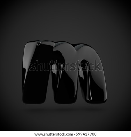 glossy black paint letter m lowercase on dark background 3d render of bubble twisted font